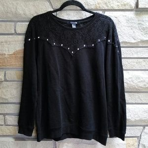 Forever 21 black lace studded sweatshirt L
